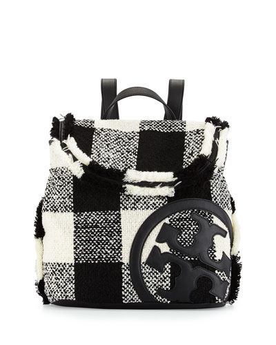 Lonnie Woven Flap Backpack, Black/White