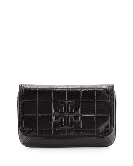 Tory Burch Marion Quilted Patent Clutch Bag, Black
