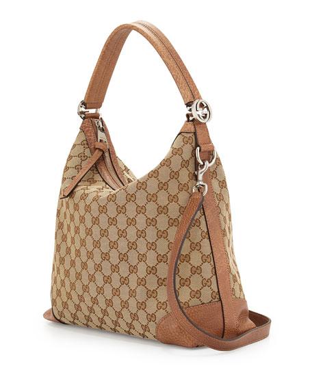 Gucci Original GG Canvas Hobo Bag, Medium Camel