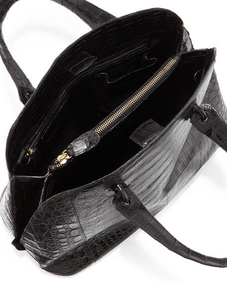 Crocodile Medium Open Dome Tote Bag, Black Shiny