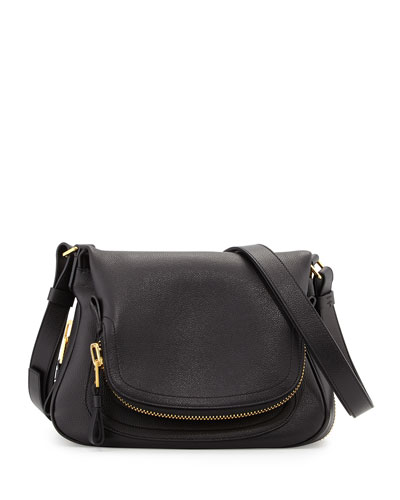 Jennifer Small Leather Shoulder Bag, Black