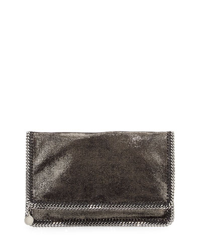 Falabella Fold-Over Evening Clutch Bag, Gray