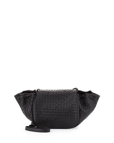 Intrecciato Medium Flap Messenger Bag, Black