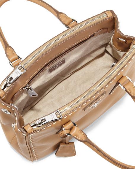 Prada Galleria Small Frame Tote Bag, Caramel/White (Camelo/Bianco) - prada galleria bag caramel