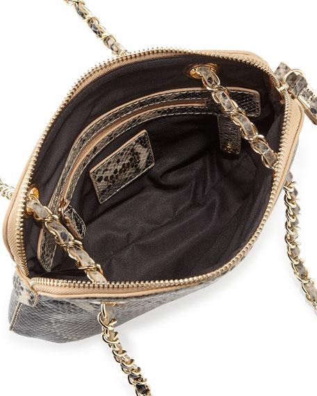 London Snake-Embossed Leather Crossbody Bag, Silver Snake