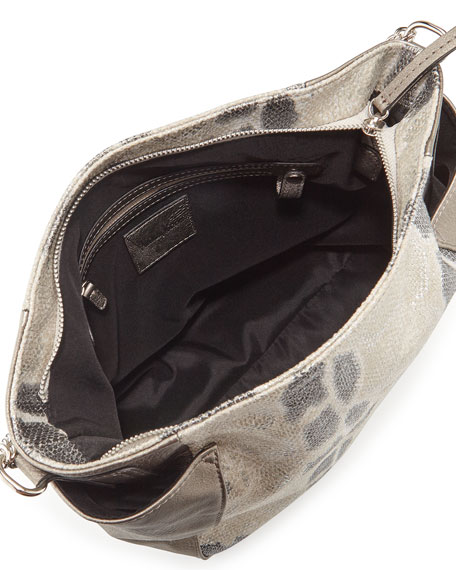 Paris Snake-Embossed & Metallic Faux-Leather Hobo Bag, Snake