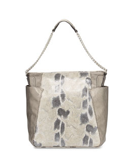 Paris Snake-Embossed & Metallic Faux-Leather Hobo Bag, Snake