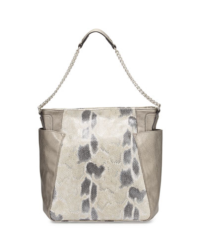 Paris Snake-Embossed & Metallic Leather Hobo Bag, Snake