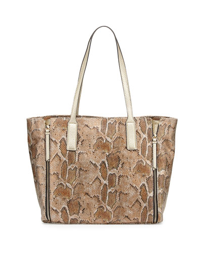 West End Snake-Embossed Faux-Leather Tote Bag, Tan Snake