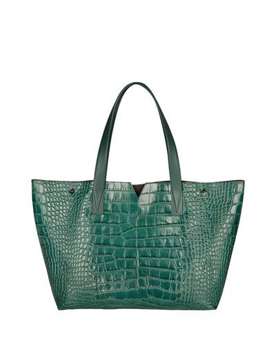 Signature V Croc-Print Tote Bag, Forest Green