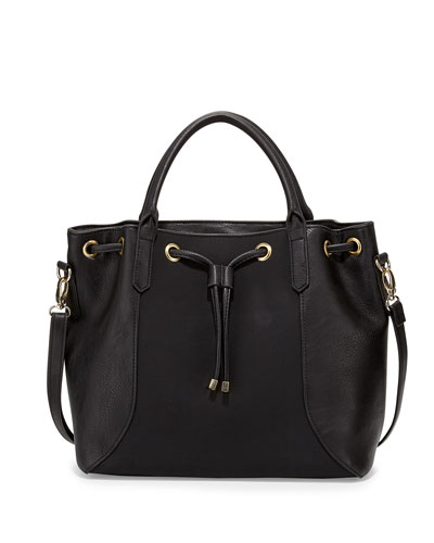 Jessa Faux-Leather Tote Bag, Black