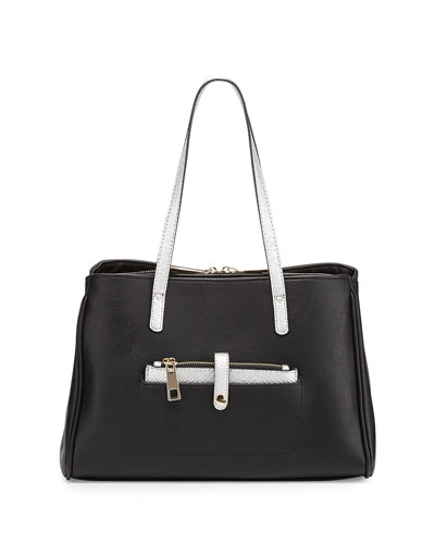 Reena Faux-Leather Satchel Bag, Black