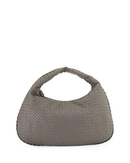 Veneta Intrecciato Large Hobo Bag, Gray