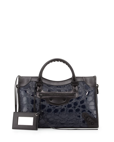 Classic City Croc-Embossed Bag, Blue/Black
