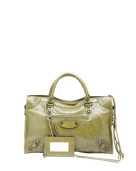 Balenciaga Classic City Crinkle Calf Bag, Olive Green