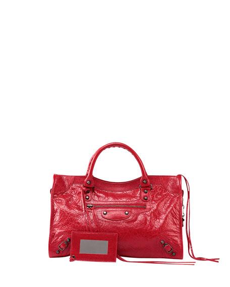 Balenciaga Classic City Crinkle Calf Bag, Red