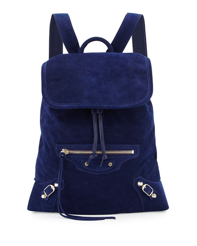 Classic Traveler Suede Backpack, Navy Blue