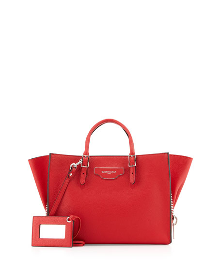 Balenciaga Papier Small Zip-Around Tote Bag, Red