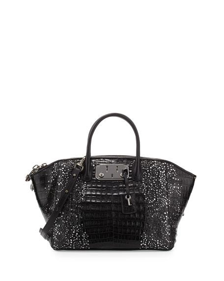 VBH Brera 32 Lace-Cut Crocodile Satchel Bag, Black/White