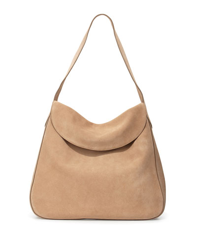 Suede Doubled Flap-Top Medium Hobo Bag, Camel (Cammello)