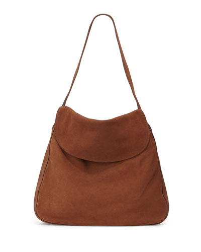 Suede Doubled Flap-Top Medium Hobo Bag, Brown (Cacao)