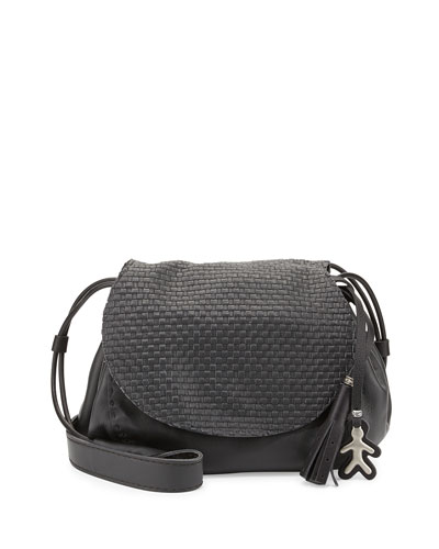Molly Small Woven-Flap Messenger Bag, Dark Gray