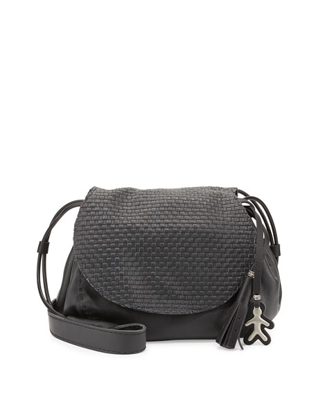 Henry BeguelinMolly Small Woven-Flap Messenger Bag, Dark Gray