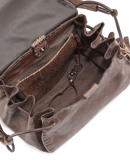 Image 2 of 3: Molly Small Croc-Stamped Messenger Bag, Taupe
