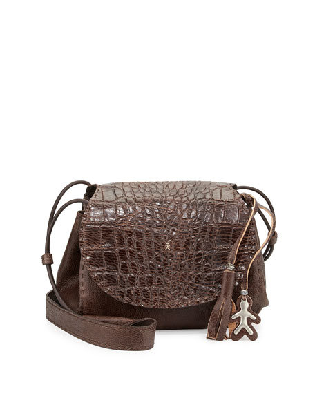 Henry Beguelin Molly Small Croc-Stamped Messenger Bag, Taupe