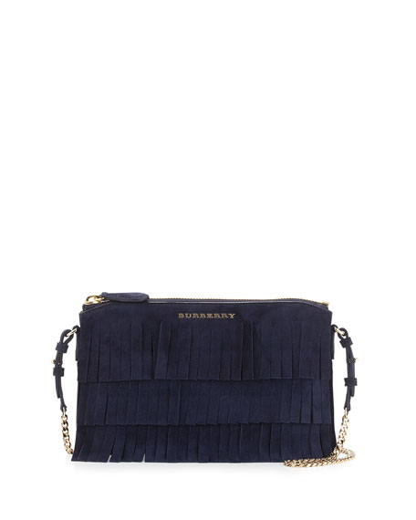 Burberry Peyton Fringed Suede Crossbody Bag, Blue Carbon