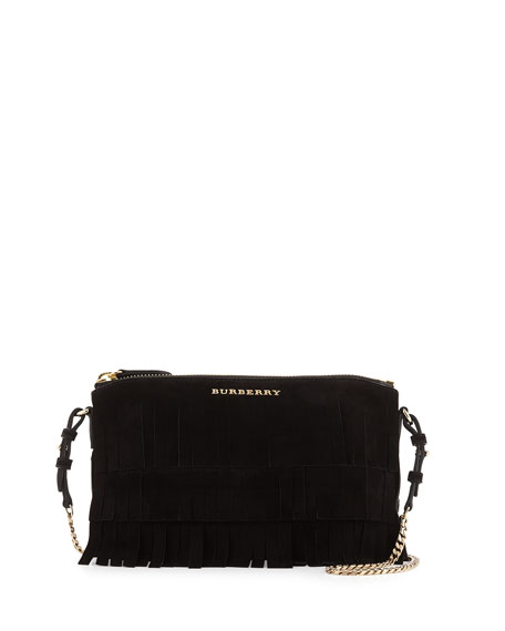 Peyton Fringed Suede Crossbody Bag, Black