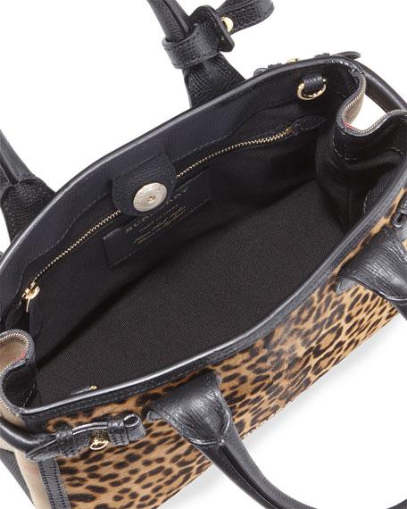 Animal-Print Calf Hair Small Satchel Bag, Camel