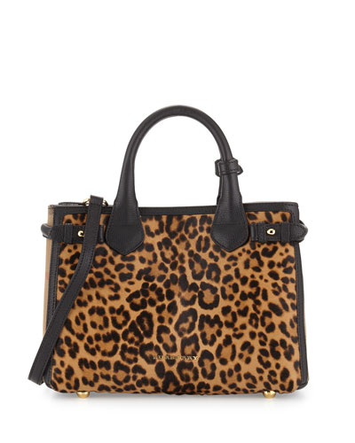 Animal-Print Calf Hair Small Satchel Bag, Camel
