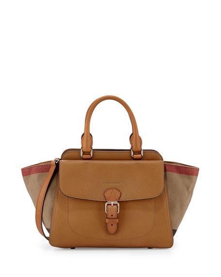 Burberry Brit Medium Grainy Canvas Check Satchel Bag Saddle Brown Neiman Marcus