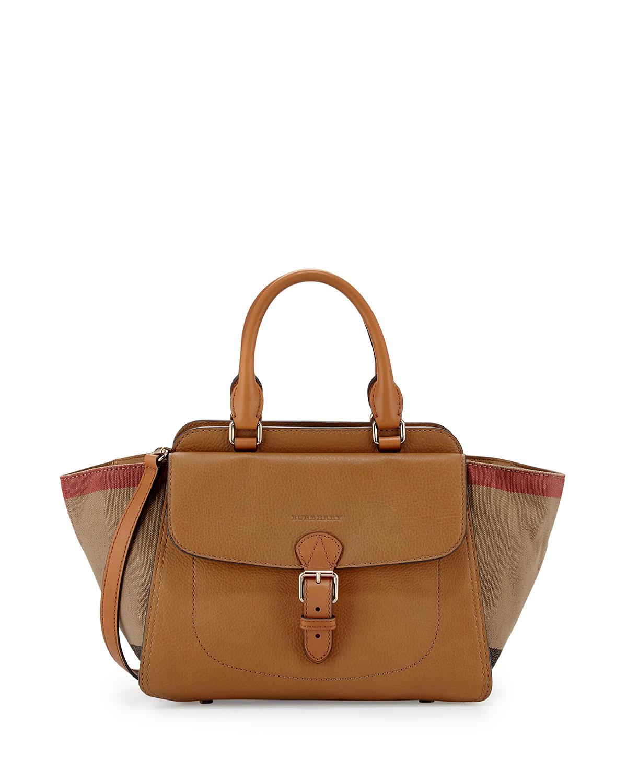 b6583fe9dd83 Burberry Brit Medium Grainy Canvas Check Satchel Bag