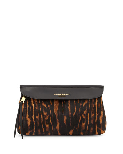 Prorsum Animal-Print Calf Hair Clutch Bag, Dark Camel