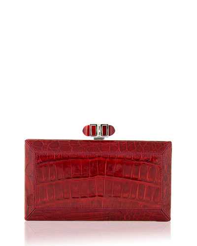 Coffered Crocodile Minaudiere, Cherry