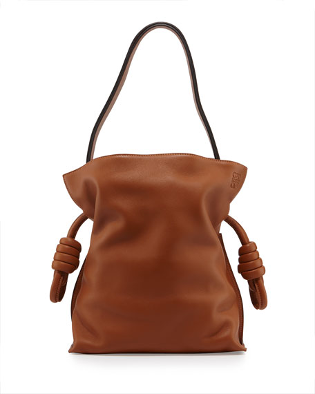 Loewe Flamenco Small Knot Bucket Bag, Tan