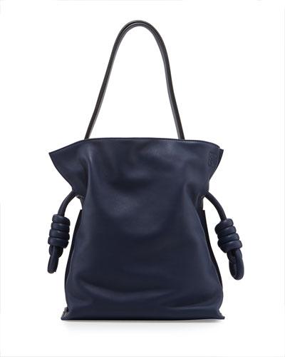 Flamenco Small Knot Bucket Bag, Navy