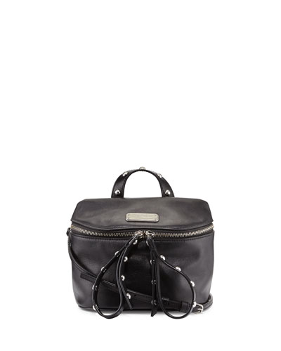 Canteen Leather Bag w/Rivets, Black