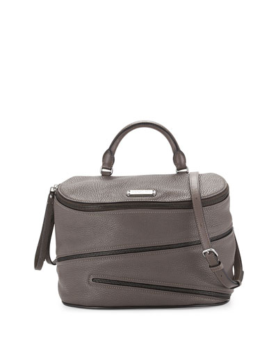Serpentine Goatskin Satchel Bag, Faded Aluminum
