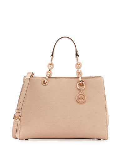 Cynthia Medium Saffiano Satchel Bag, Blush