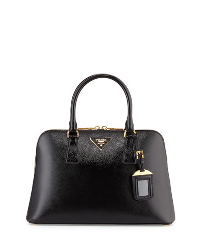 12180277678a Prada Saffiano Double-Handle Small Trapezoid Tote Bag, Black (Nero ...