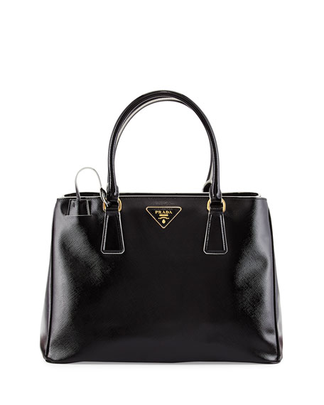 Prada Saffiano Vernice Large Double-Handle Tote Bag, Black