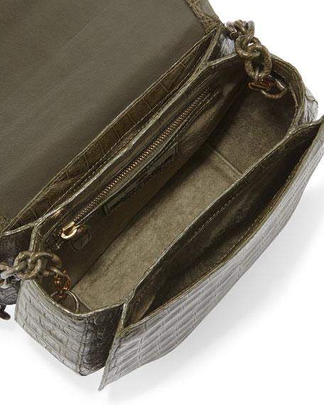 Nancy Gonzalez Round Flap-Top Crocodile Crossbody Bag, Army Green
