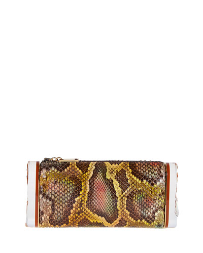 Soft Lara Python Clutch Bag, Yellow