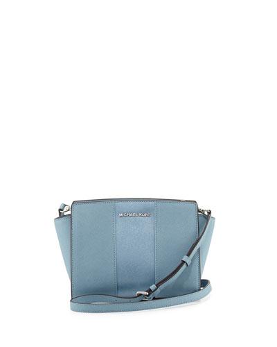 Selma Medium Metallic Center-Stripe Saffiano Messenger Bag, Powder Blue