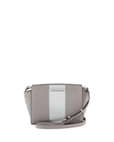 Selma Medium Metallic Center-Stripe Saffiano Messenger Bag, Pearl Gray/Silver