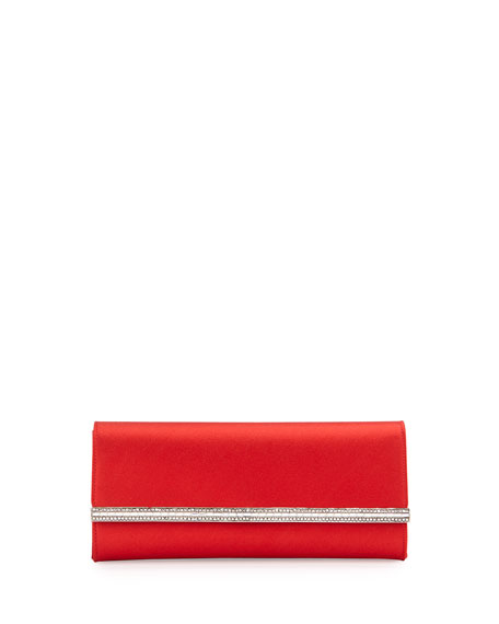 Judith Leiber Couture Tuxedo Crystal-Trim Satin Clutch Bag,
