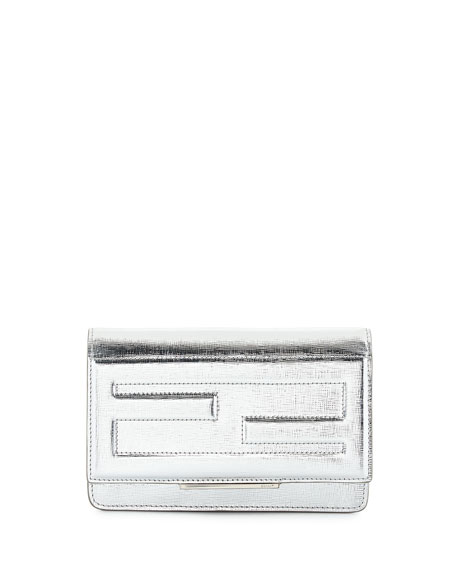 Fendi Small Leather Tube Wallet-on-a-Chain, Silver